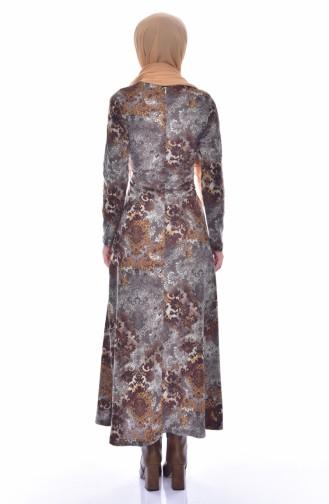دلبر فستان مُطبع بتصميم حزام خصر 7077-02 لون بني 7077-02