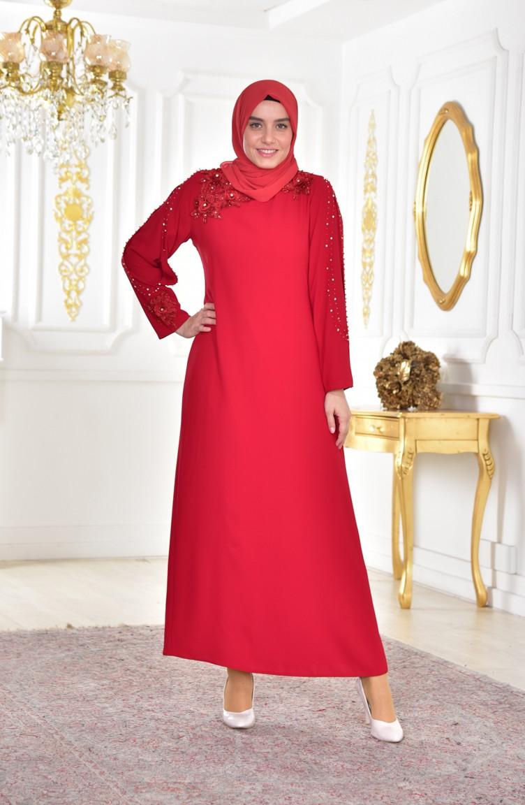 974b8ed4061af Büyük Beden Dantelli Abiye Elbise 1112-01 Kırmızı
