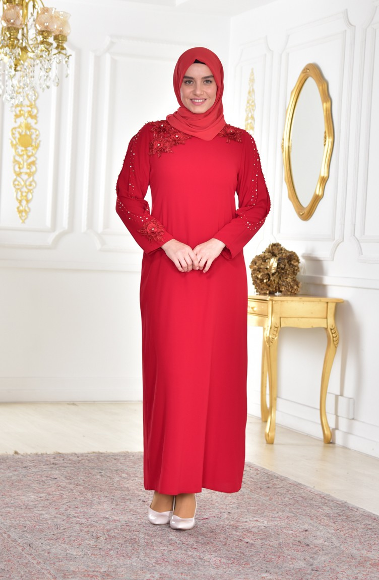 Plus Size Lace Evening Dress 1112 01 Red 1112 01