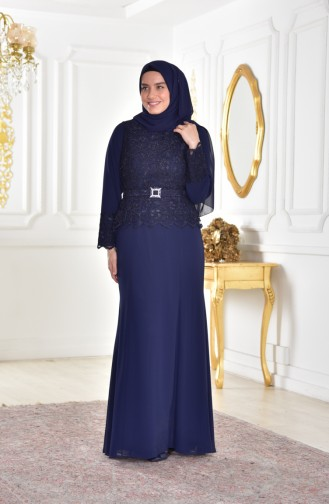 Plus Size Ruched Evening Dress 1280-02 Navy 1280-02