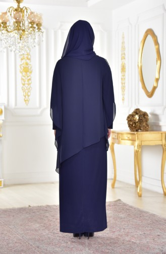 Büyük Beden Taşlı Abiye Elbise 4007-03 Lacivert