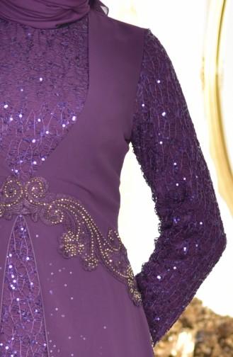 Payetli Şifon Elbise 52714-08 Mor