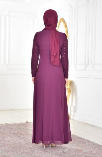 فستان شيفون بتفاصيل من الترتر 52714-06 لون ارجواني 52714-06