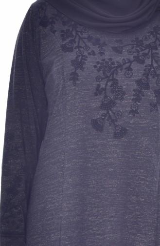 Büyük Beden Nakışlı Elbise 4828-01 Siyah 4828-01