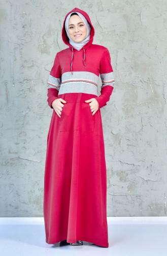 فستان رياضي بتصميم جيوب1007-04 لون خمري 1007-04