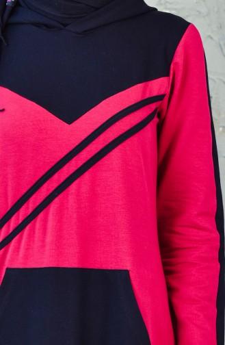 فستان رياضي بتصميم موصول بقبعة 1009-04 لون خمري 1009-04