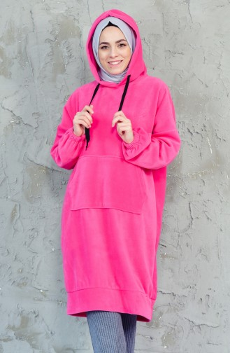 Kapüşonlu Polar Sweatshirt 7777-03 Pembe