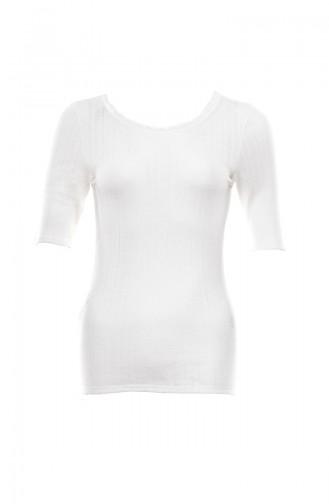 Anıl Kadın Termal Kısa Kol T-Shirt MAN8545-01 Ekru
