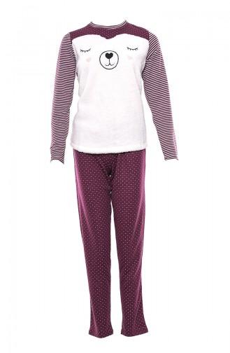 Anıl Kadın Pijama Takımı MAN9543-01 Mürdüm
