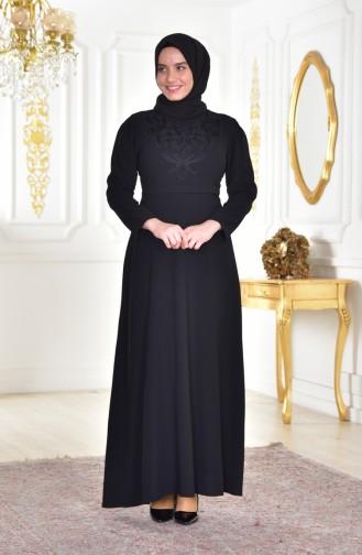 Übergröße Perlen Kleid mit Gürtel 6150-01 Schwarz 6150-01