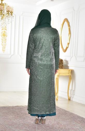 Büyük Beden Kolyeli Elbise 1061-03 Zümrüt Yeşili