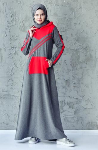فستان رياضي بتصميم موصول بقبعة 1009-05 لون اسود مائل للرمادي 1009-05