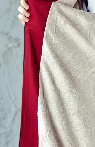 معطف بتصميم مزموم عند الخصر 4019-05 لون خمري 4019-05