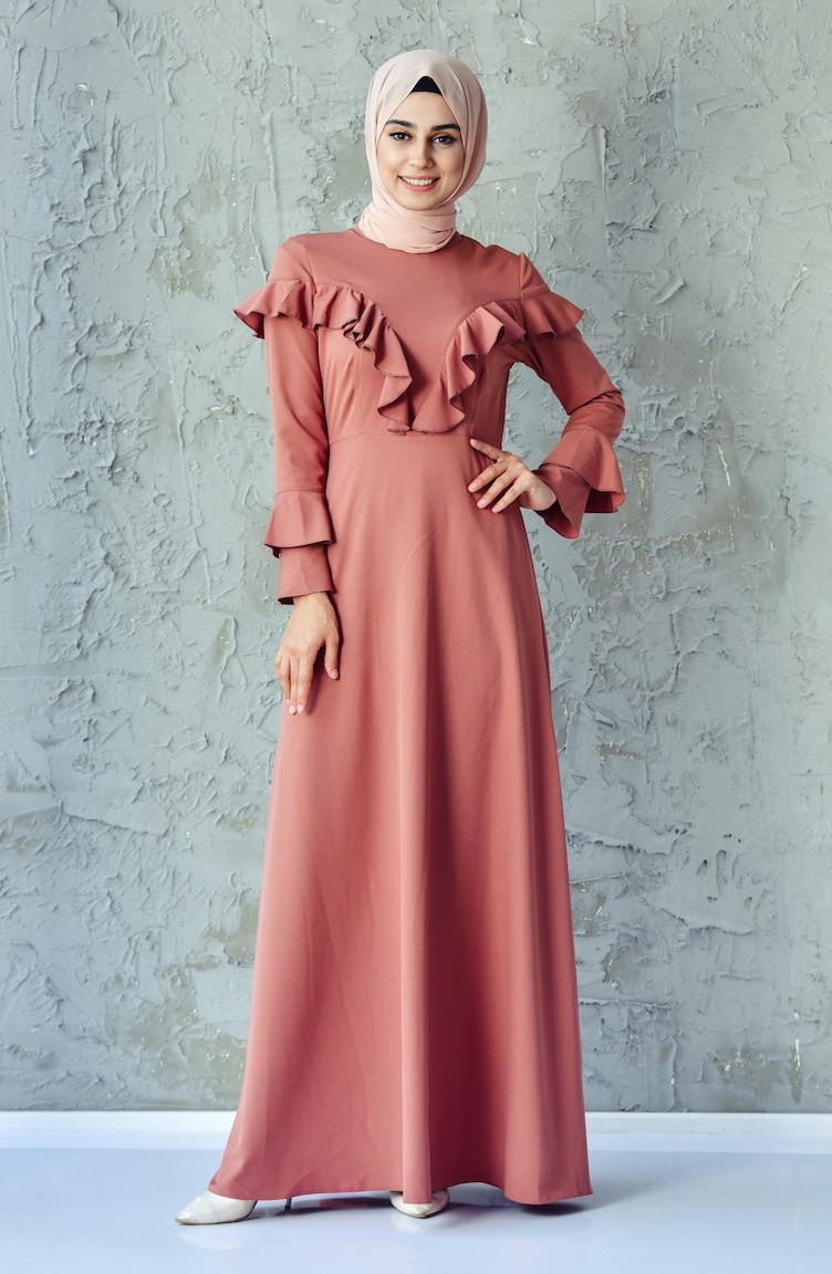 de2c6acf7bc Ruffle Detail Dress 6138-05 Dried Rose 6138-05