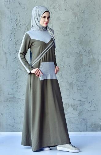 فستان رياضي بتصميم موصول بقبعة 1009-06 لون اخضر كاكي 1009-06