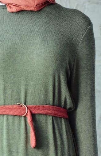 تونيك تريكو بتصميم قصة مستقيمة وحزام خصر 1145-01 لون أخضر كاكي 1145-01