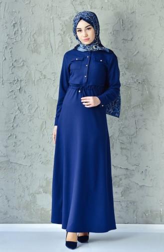 BENGISU Pleated Waist Dress 4502-09 Navy Blue 4502-09