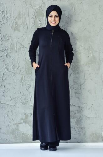 Lace Detailed Zippered Abaya 6010-04 Black 6010-04