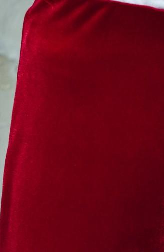 بنطال مخمل بتصميم مطاط عند الخصر 2608-05 لون خمري 2608-05