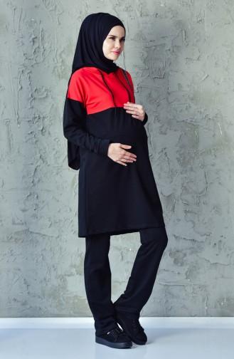 Hamile Eşofman Takım 0396-01 Kırmızı