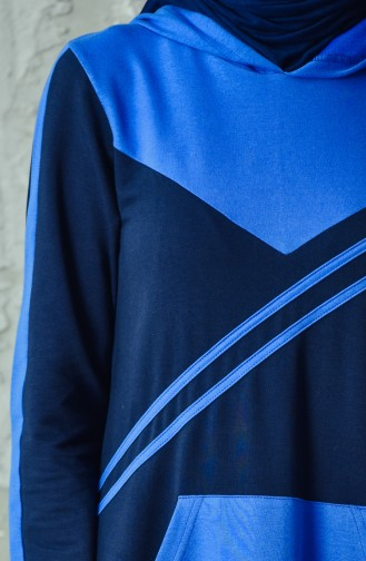 فستان رياضي بتصميم موصول بقبعة 1009-02 لون كحلي 1009-02