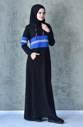 فستان رياضي بتصميم جيوب 1007-01 لون أسود 1007-01