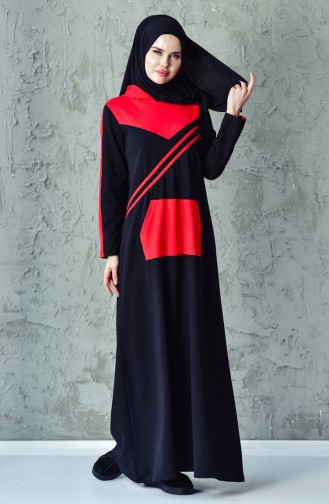 فستان رياضي بتصميم موصول بقبعة 1009-01 لون اسود 1009-01