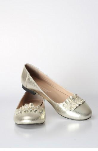 """فاست ستيب حذاء مسطح """" بالارينا """" للإستخدام اليومي بتصميم من الجلد  064Za826 لون ذهبي 064ZA826-16777360"""