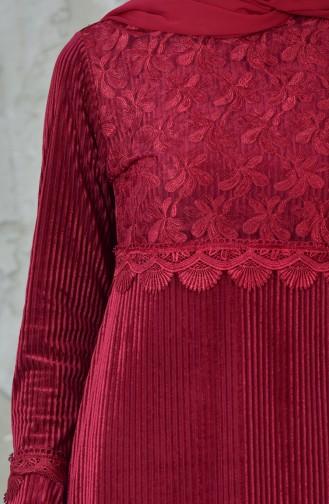 فستان بتفاصيل من الدانتيل 99156-02 لون خمري 99156-02
