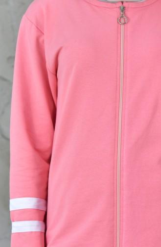 بدلة رياضية بتصميم سحاب 18050-26 لون وردي 18050-26
