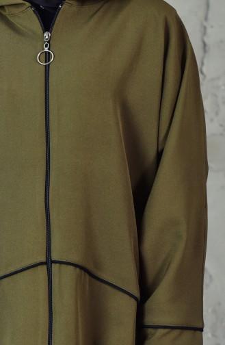 كاب موصول بقبعة بتصميم اكتاف واسعة 5050-02 لون اخضر كاكي 5050-02