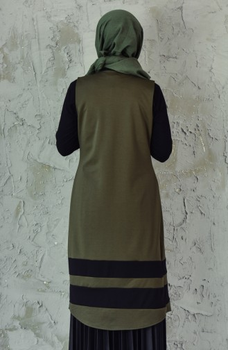 W.B Garnished Vest 6336-04 Khaki 6336-04