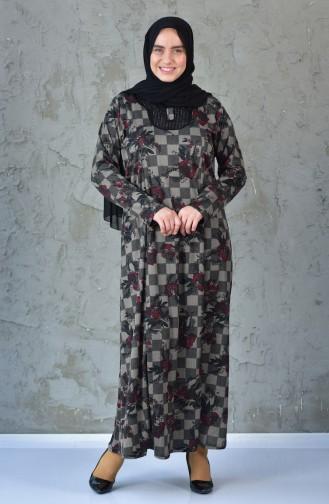Büyük Beden Desenli Elbise 4845A-01 Siyah Kırmızı 4845A-01