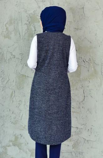 W.B Pocketed Vest 6338-04 Navy Blue White 6338-04