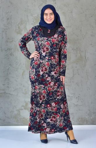 فستان بتصميم مورّد بمقاسات كبيرة 4411-02 لون كحلي وأحمر 4411-02