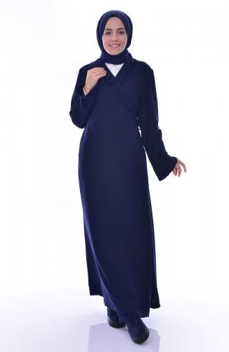 Sefamerve Prayer Dress 1020-01 Navy Blue 1020-01