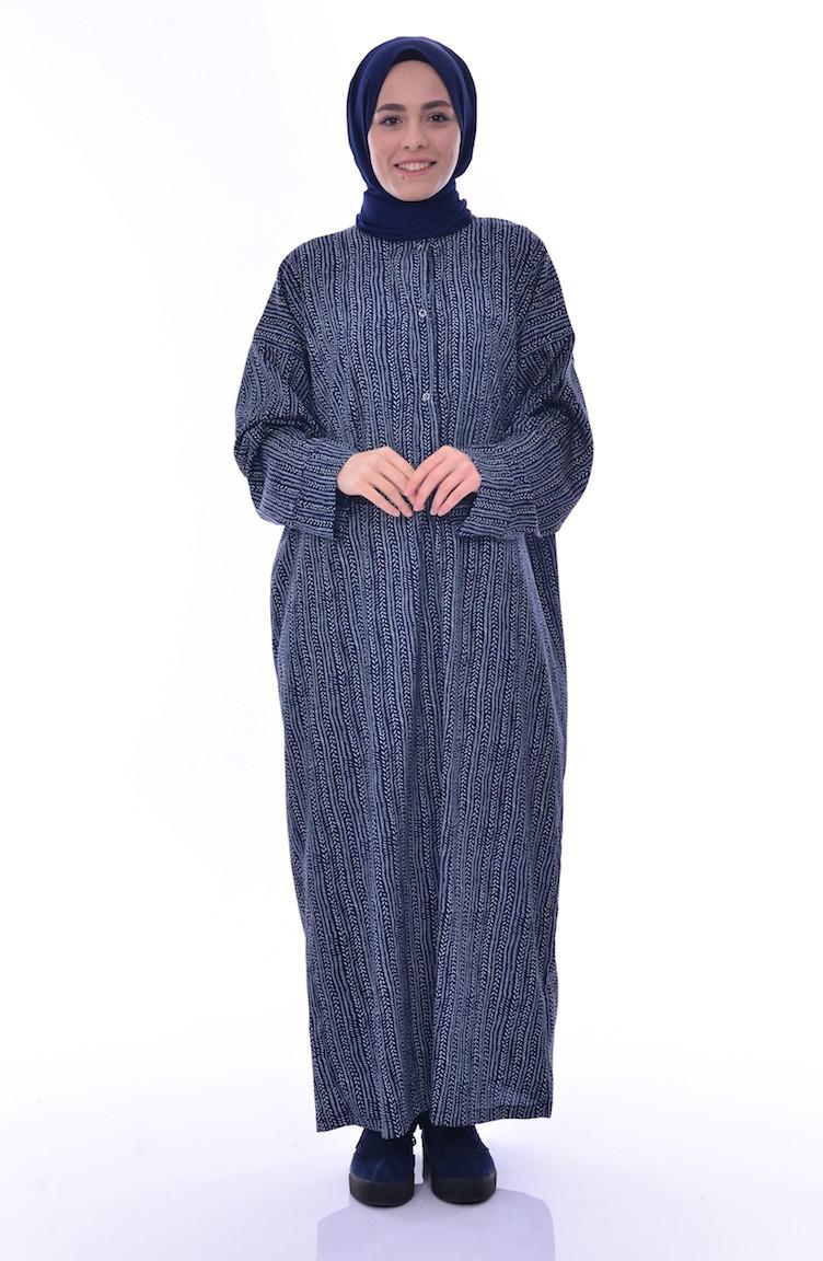 02714a8cab0 Sefamerve Robe de Prière à Motifs 1016-01 Bleu Marine 1016-01