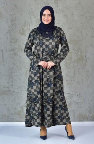 فستان بتصميم مُطبع بمقاسات كبيرة 4845A-04 لون كحلي وازرق 4845A-04