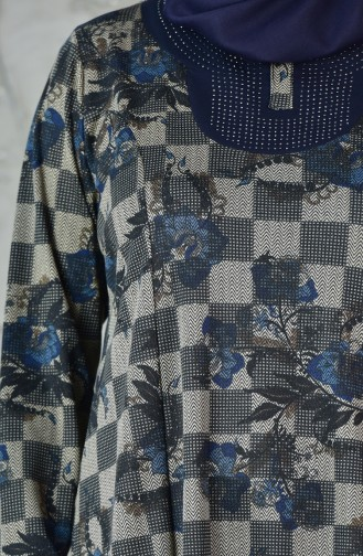 Büyük Beden Desenli Elbise 4845A-04 Lacivert Mavi 4845A-04