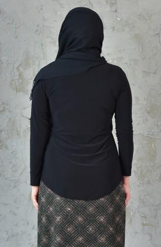 Büyük Beden Taş Baskılı Gömlek 3608-01 Siyah 3608-01