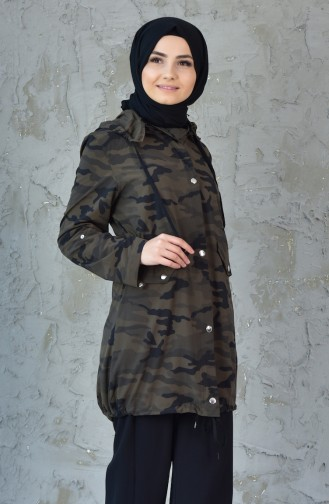 Camouflage Patterned Trench Coat MGP7030-01 Green 7030-01