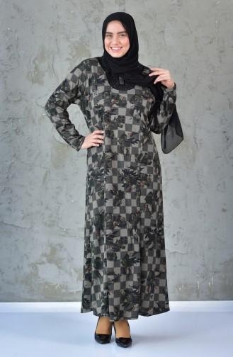 Büyük Beden Desenli Elbise 4845A-02 Siyah Turuncu 4845A-02