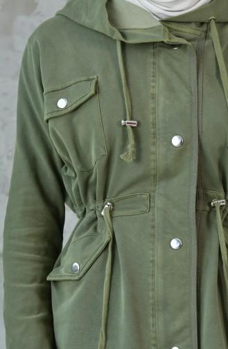 ترانش كوت مُزين بالترتر MGP7004-01 لون اخضر 7004-01