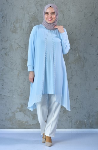 Large Size Pearls Tunic 1041-02 Baby Blue 1041-02