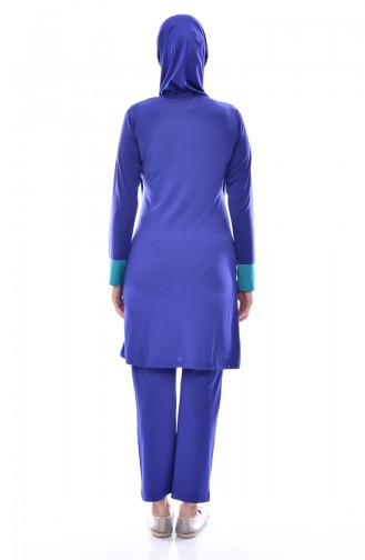 Maillot de Bain Hijab Garni 0300-02 Bleu Roi 0300-02