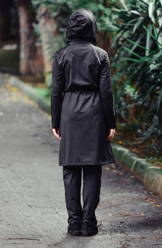 İpli Kemerli Eşofman Takım MGP9554-01 Siyah