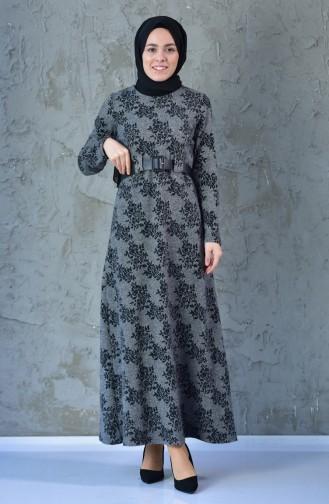 فستان بتصميم حزام للخصر 7085-01 لون اسود 7085-01