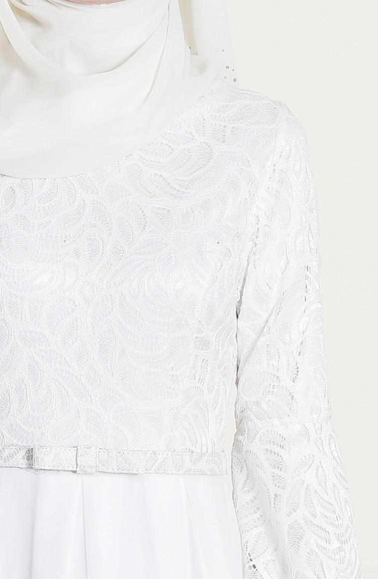 Sefamerve Beyaz Kemerli Abiye Elbise