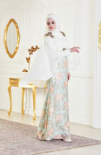 Lace Evening Dress 8282A-01 Light Beige Mint Green 8282A-01