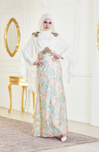 Mint green Islamic Clothing Evening Dress 8282A-01